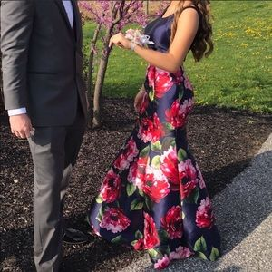 Floral Two-Piece Prom Dress